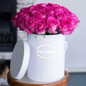 19 розовых роз в коробке R002