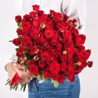 Букет 31 красная кустовая роза R010