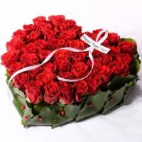 Сердце 31 красная роза с оформлением R027