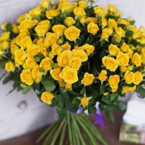 Букет 15 кустовых желтых роз R680