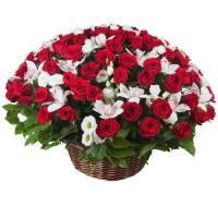Сборная корзина красные розы и орхидеи R004